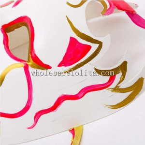 Full Face Drama Mask Venetian Mask in Gold and Red and White Color