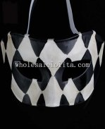 Mosaic Cosplay and Parties Venetian Masquerade Mask in Black and White Color