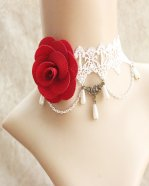 Gothic Red Rose Pearl Lolita Necklace
