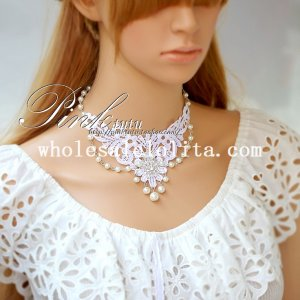 Gothic Elegant White Lace Collar Choker Pearl Chain Necklace for Bride/Bridesmaid Gift