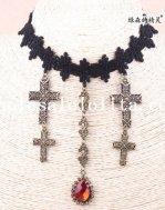 Vintage Gothic Black Lace Collar Choker Necklace with Cross and Ruby Pendant