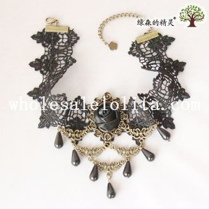 Women's Handmade Pendant Black Lace Collar Choker Necklace with Rose