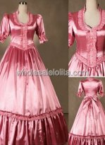 Victorian Pink Satin Victorian Wedding Southern Belle Cosplay Ball Gown