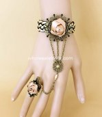 New DIY Gothic Retro Coffee Rose Bronze Bracelet & Ring