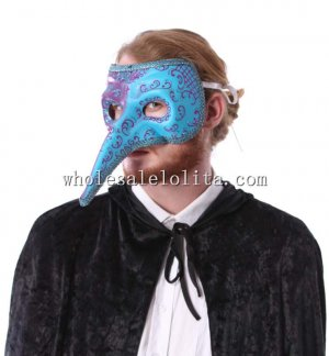 Double Color Long Nose Masquerade Mask with Silver Braiding