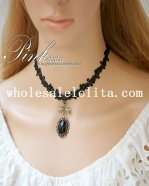 Women's Black Gothic Lace Vintage Gem Pendant Necklace for Gift