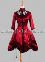 Wine Red Silk-like Short Gothic Party Dress Ties on the Hem