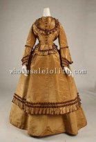 19th Century Historical Dress - 1871 Victorian Early Bustle Wedding Dress