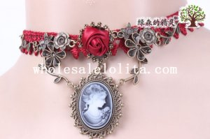 Royal Red Lace Gothic Vintage Collar Choker Pendant Necklace for Women