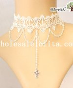 Royal Vintage White Lace Pendant Collar Choker Necklace for Women