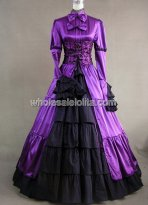 Gothic Violet and Black Victorian Prom Dress Halloween Masquerade Ball Gown