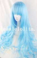 Cosplay Ice Blue Anime Long Curly Wig for Women