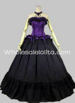 Gothic Black and Purple Sleeveless Victorian Prom Dress Ball Gown Bodice & Skirt