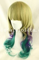 Hotsale Japan Harajuku Cosplay Mix-colored Heat Resistant Long Wavy Hair Wig