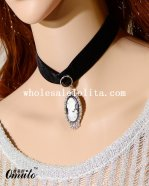 Victorian Elegant Black Lace Necklace Pendant for Prom