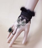 Gothic Black Lace Retro Bronze Mink Hair Bracelet & Ring