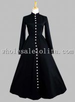 Gothic Black Thai Silk Button in the Front Victorian Era Dress