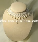 Women's Gothic Handmade Pearl Pendant White Lace Necklace for Wedding Prom
