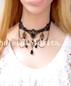 Fashion Bead Pendant Black Lace Gem Necklace for Women