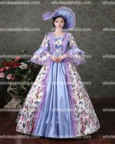 Georgian Period Masquerade Princess Bridesmaid Dress Antique Floral Theater