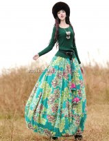 Fashion Blue Printing Cotton Elastic Waist Big Hem Skirt