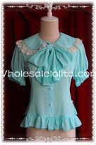 Ladies Water Blue Chiffon Big Bow Tie Short Sleeves Lolita Blouse