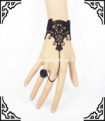 Ladies Black Lace Resin Rose Gothic Bracelet