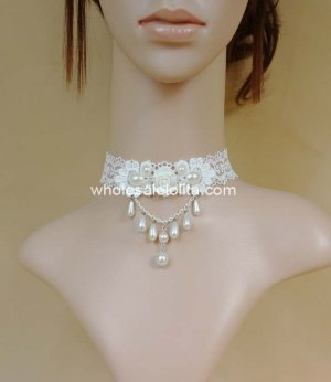 White Wedding Lace Necklace with Pearl