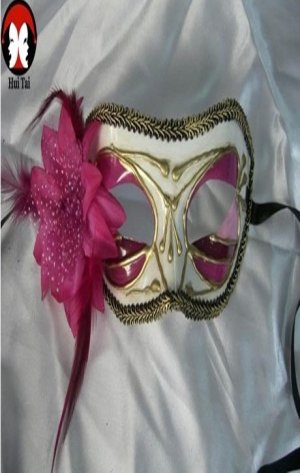 Manual White Violet Costume Party Mask