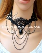 Women's Sexy Black Lace Gem Pendant Chain Necklace for Gifts