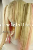 Blonde/Pink Heat Resistant Anime Cosplay Long Straight Green Hair Wig
