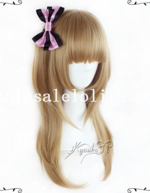 55CM Flaxen Straight Wig with Braid For Girls