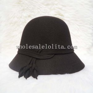 Autumn Winter Coffee Wool Small Brim Ladies British Hat