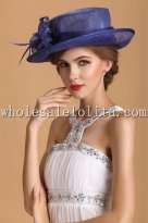 2014 Summer Noble Royal Blue British Small Brim Ladies Hat
