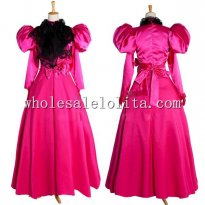 Long Sleeves Hot Pink and Black Taffeta Gothic Victorian Style Gown