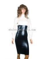 Two Piece White Long Sleeves Top & Black High Waist Pencil Skirt Latex Suit