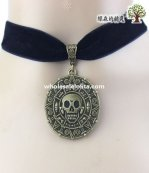 Women's Black Velvet Collar Choker Skeleton Pendant Necklace for Gift