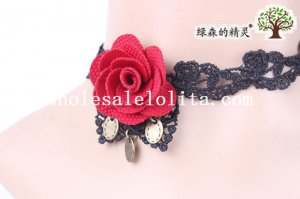 Black Gothic Handmade Women's Lace Necklace with Red Rose