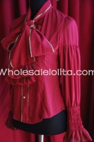 Ladies PIRATE WIND Burgundy Chiffon Neckline Bowknot Blouse