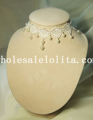 Handmade Wedding Prom Fashion Pearl Pendant White Lace Necklace