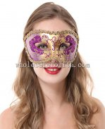 Cosplay Halloween Black Masquerade Mask with Feather