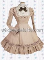 Deep Khaki Long Sleeves Pintucks Cotton Classic Lolita Dress