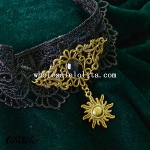 Copper Sun Pendant Gothic Vintage Black Lace Gem Necklace
