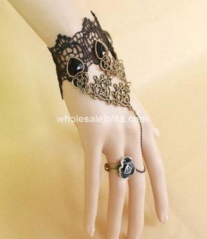 Vintage Bronze Black Lace Gothic Bracelet & Ring