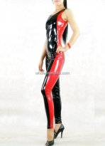Black & Red PVC Bodysuit Catsuit