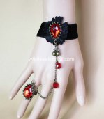 Gothic Black & Red Man-made Crystal Punk Cheery Bracelet & Ring