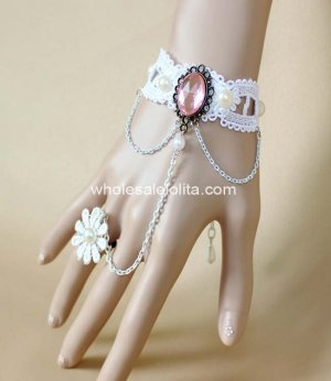 Bride White Lace Pearl Wedding Bracelet & Ring