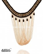 Black Lace Gold Pendant Necklace