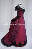 Historical 1880s Wine Red and Black Lace Victorian Bustle Dress Wedding Reenactment Theatre Costume