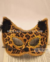 Braided Hand Made Half Face Venetian Masquerade Mask with feather